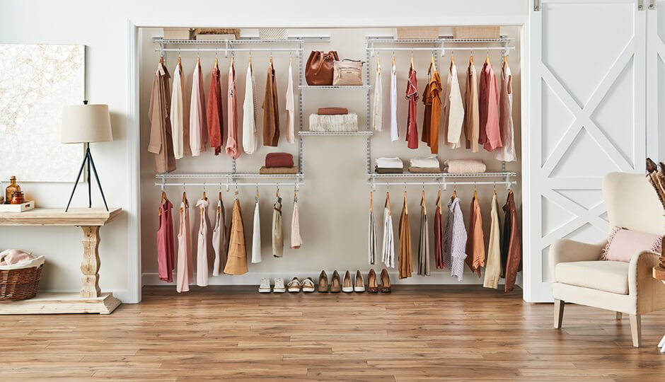 There's a ShelfTrack Organizer wire kit for a reach-in closet of almost any width.