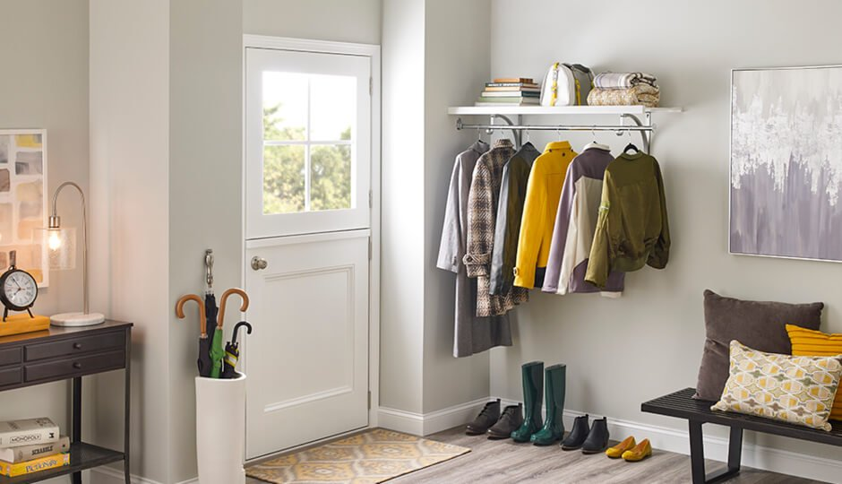 Hang a stylish shelf and rod near the door