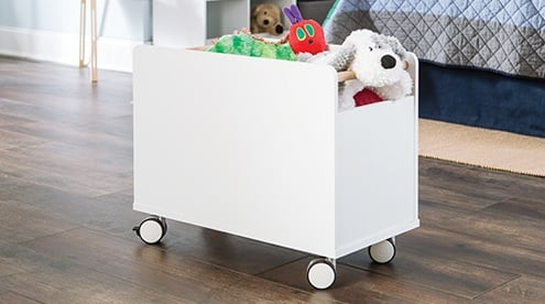 Bedroom organization designed for real life, stationary or on-the-go. Shop Mobile Toy Chest