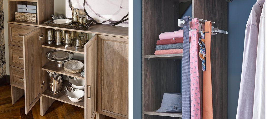 SuiteSymphony drawers, doors and tie-belt rack in Natural Gray