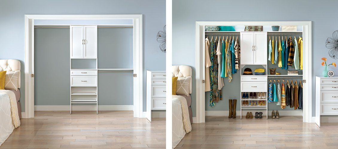 SuiteSymphony modern drawers, doors and shoe shelving in Pure White